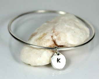 Pebble Initial Bangle, Sterling Silver Bangle, Personalized Initial Bracelet, Recycled Solid Sterling Silver Pebble, Charm Bracelet