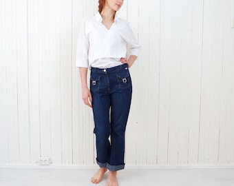 Vintage miss sixty jeans Vtg denim trousers High waisted jeans Blue jeans Hipster urban jeans Cropped jeans Capris jeans size Medium