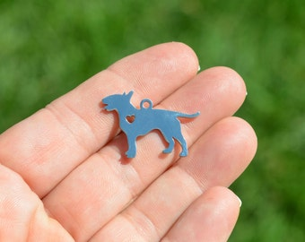 1  Stainless Steel Bull Terrier Dog Blank Charm SC3960