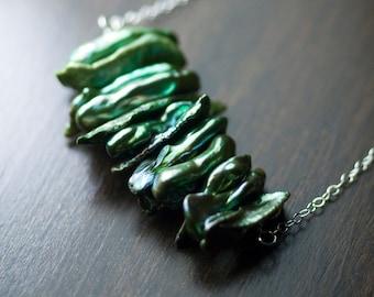 "Deep Forest Green Biwa Pearl Cluster Pendant Sterling Silver Necklace - AA Grade, Modern, Iridescent, June Birthstone - ""Evergreen"""