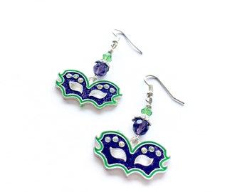 Mardi Gras  earrings, Mardi Gras mask earrings, enameled mask earrings, green and purple Fat Tuesday earrings