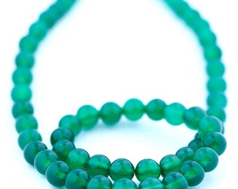 Green Onyx Beads 8mm Smooth Round - 15 Inch Strand