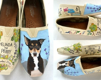Bride's Love Story Wedding Shoes Custom Painted TOMS Unique Wedding Toms Wedding Shoes Custom TOMS Wedding Flats Painted Wedding Toms Shoes