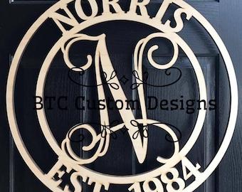 Wooden MonogramDoor Monogram wood monogram wood monograms Birch circle Door Monogram Personalized Monogram Wood Monogram with date & Front door monogram | Etsy