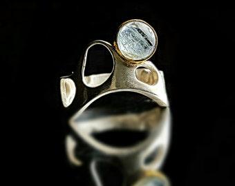 Aquamarine Ring Ring Aquamarine Silver Aquamarine Gemstone Ring Blue Aquamarine Ring Statement Ring Contemporary Ring March Birthstone Ring