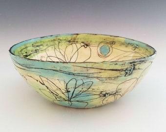 Ceramic Serving Bowl, Large Porcelain Bowl, Fruit Bowl, Salad Bowl, Pasta Bowl, Colorful Floral Bowl