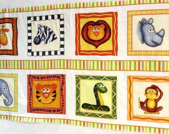 Jungle Buddies animals squares quilt or wallhanging cotton fabric panel - make a great handmade baby gift