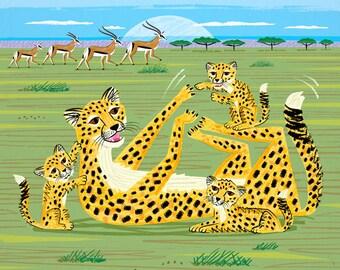 Cheetahs and Gazelles - Animal illustration - Childrens art - Nursery art - Nursery Decor - iOTA iLLUSTRATiON