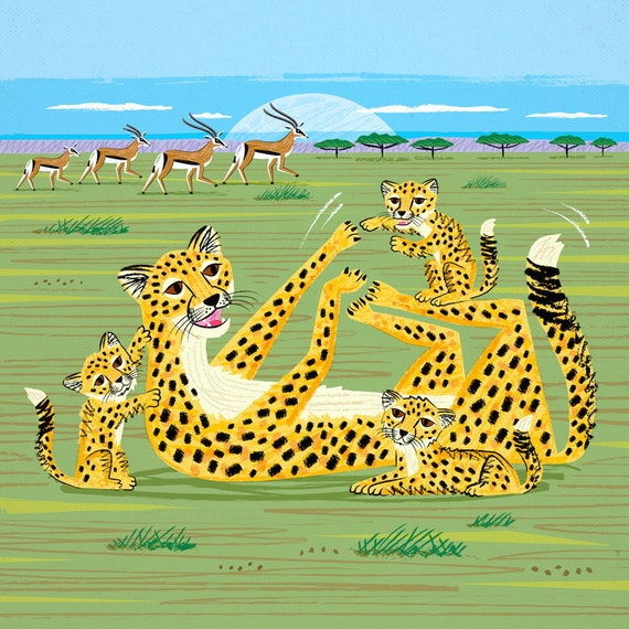 Cheetahs and Gazelles - Animal illustration - Childrens art - Nursery art - Nursery Decor - iOTA iLLUSTRATiON
