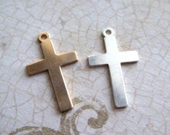 1-10 pcs, Silver or Gold CROSS Charms Pendants / 14k Yellow Gold Fill, 19x13 mm /  wholesale religious charm c13 p