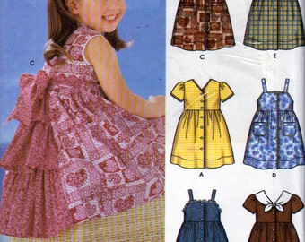 Simplicity 5580, Girls Button Front Dresses with Bodice and Skirt Variations, Sizes 3 to 8, 3 Layer Back V Dress, Full Gathered Skirt