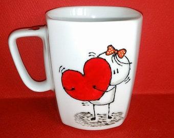 Handpainted mug. Bigli Migli Mug. Love mug. For couples in love!