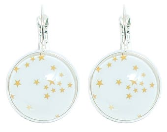 Round cabochon earrings white * golden stars *.