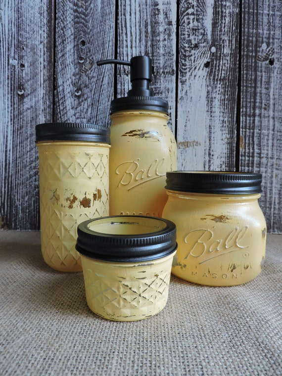Mason Jar Bathroom Set Sunflower Yellow Bath Set Mason Jar
