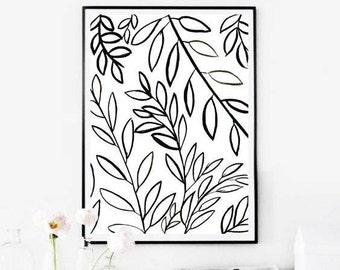 Black and  White Botanical Art,Botanical Wall Art Prints, Black Botanical Print,Black White Leaves,Instant Download Art,Botanical Printable
