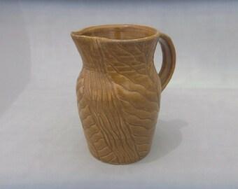 Handmade Ceramic Pitcher - Carved Amber Pottery Pitcher