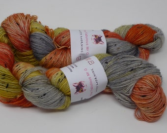Misty Morning:Hand Dyed Yarn, Sock Yarn, Hand Dyed Sock Yarn, Donegal Tweed, 4 ply, 100gm, Grey, Orange, Yellow
