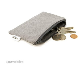 Men's Zip Pouch - Two Tone Grey Pouch - Card Case - Geeky Guys Wallet - Linen Zipper Coin Pouch - Ear Bud Case - Key Pouch - Ready to Ship