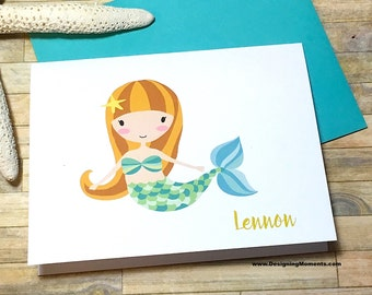 Personalized Girls Mermaid Stationery - Under the Sea Note Cards - Custom Stationery - Stationary - Mermaid Thank You Cards - DM238