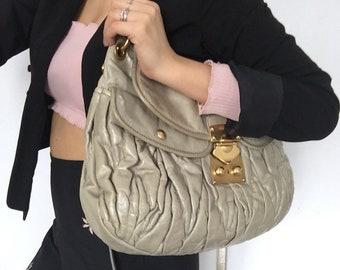 Miu Miu bag shoulder bag Authentic Bag purse leather Crossbody Grey shoulder bag