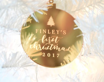 Custom Hand Lettered Calligraphy Laser Cut Engraved Baby's First Christmas Ornament