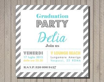Pdf, Printable Graduation party invite, unique graduation invitations,High School Graduation Invite, wedding shower invitation