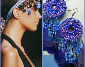 MORGANA Earrings, Hand sewn, hand beaded sequin, soutache, Made to order, Choose the color