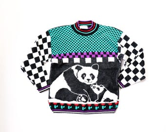 Sparkle Sweater Kawaii Panda Bear Cute Animal Novelty Print Checkered 1980s Fairy Kei Knit Jumper Shirt Top Pullover 80s Sweatshirt Slouchy
