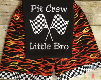 Girl and Boy Pit Crew outfit. Pit Crew Flag on a Black Short Sleeve Personalized with Name on tee with Flame Print shorts.