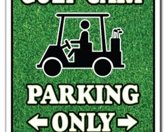 Golf Cart Parking Sign Gag Novelty Gift Funny Golfer Lover Golfing Clubs Widow