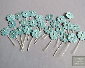 50 pieces 10 mm Blue Handmade Mulberry Paper Flowers With White Thread Stems Crafts Supply Decorations Scrap Booking Card