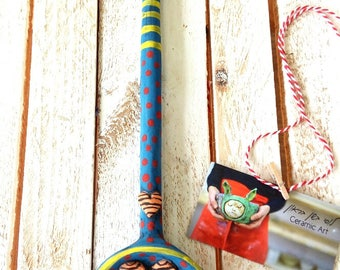 Clay spoons, kitchen wall art, ceramic spoons, decorative spoons, home decor, rustic spoons, wall art, ceramic art, colorful  spoon rest.