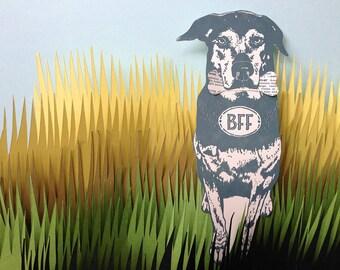 letterpress bff dog card