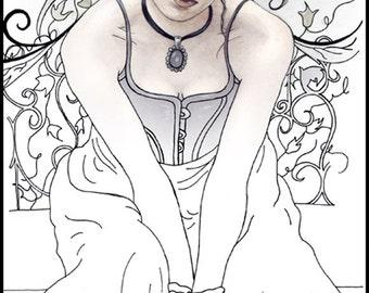 Coloring Page PRINTABLE Angel Dragon Fantasy Art Gothic