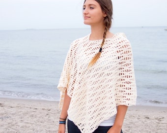 Crochet Pattern waves women poncho woman shrug sweater beach cover up, DIY photo tutorial, Instant download