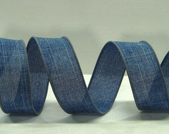 Superior Wired Burlap Ribbon ~1.5 Inch Denim Blue Royal Burlap ~ Burlap Craft Ribbon  ~ Great