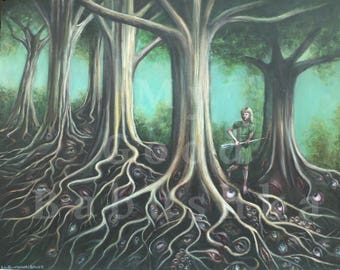 No Peeking, Large Painting, Surreal, Dark Forest, Sewing Needle, Bloody Eyeball, Macabre Art, Fairy Tale, Spooky, Trees, Evil Eyes