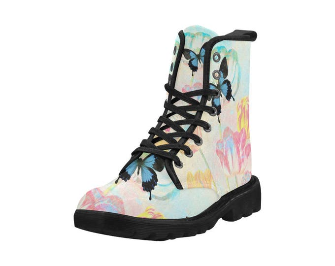 Botanical tulips and butterflies, Women's high top combat boots, 80's style, feminine prints
