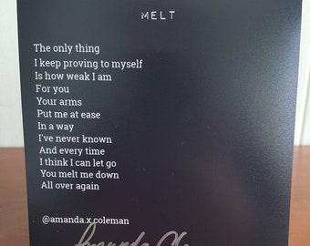 "Signed Poetry Print | Amanda.x.Coleman | ""Melt"""