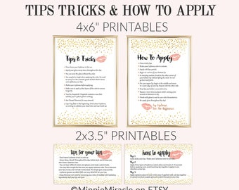 Lipsense Tips and Tricks, LipSense How To Apply, Application Instructions, Senegence, Gold Confetti 3.5x2 and 4x6 sizes DIGITAL