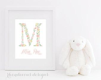 Baby Girl Nursery Art - Flower Monogram Name Print - Flower Nursery Art - Shabby Chic Nursery Decor - Flower Bedroom Art -  (S-391)