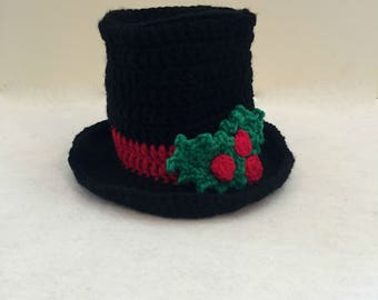Christmas Top Hat, Photo Prop, Crochet Baby Top Hat With Holly Leaves and Berries