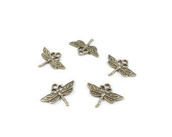 5 Antique gold coloured Metal Dragonfly charms approximately 23 x 17mm