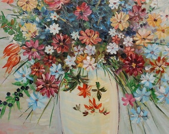 Vintage oil painting impressionist still life with flowers signed