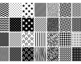 020 MULTISHAPE BLACK-WHITE digital paper pack for scrapbooking, albums, cards and crafts