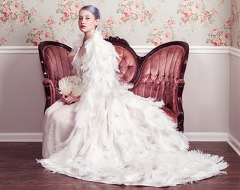 White Ostrich Plume Feather Bridal Wedding Cape Couture