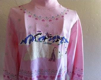 SPUMONI Winter Wonderland Ladies Medium Vintage 1980's Soft Pink Polar Bears And Penguins Sweatshirt San Francisco