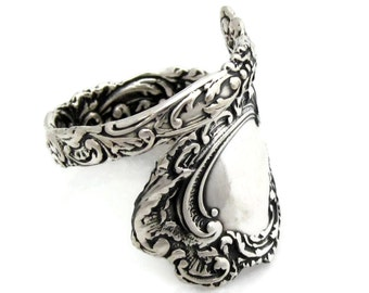 Spoon Ring Sterling Silver Louvre Sizes 6 - 10 Rococo 1893