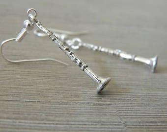 Clarinet Earrings Silver Color Dangle Earrings
