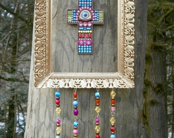 Repurposed Recycled Picture Frame All-seeing Eye Cross and Green Acrylic Prisms Mobile